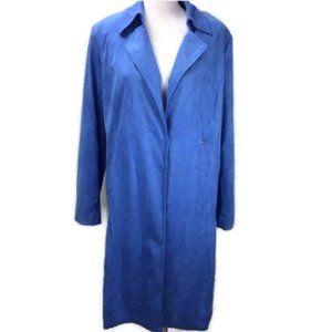 INC Women Faux Suede Trench Coat Blue Large